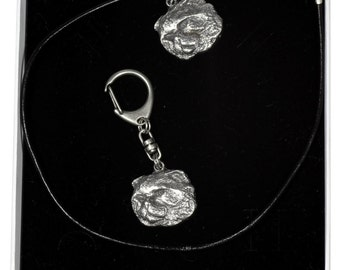 NEW, Cat, cat keyring and necklace in casket, ELEGANCE set, limited edition, ArtDog