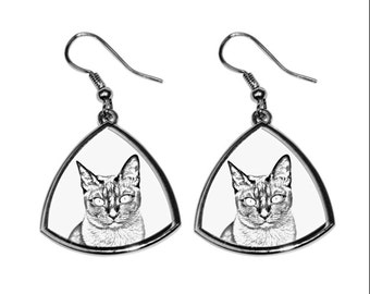 Tonkinese cat, collection of earrings with images of purebred cats, unique gift. Collection!