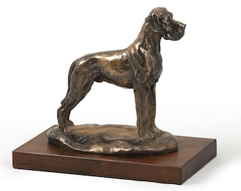 Great Dane (uncropped), dog wooden base statue, limited edition, ArtDog
