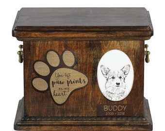Urn for dog's ashes with ceramic plate and description - Welsh Corgi, ART-DOG Cremation box, Custom urn.