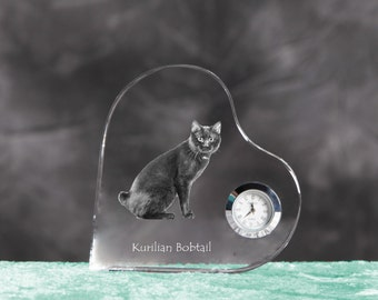 Kurilian Bobtail- crystal clock in the shape of a heart with the image of a pure-bred cat.