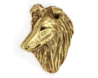 Shetland Sheepdog, Sheltie head, millesimal fineness 999, dog pin, limited edition, ArtDog