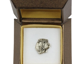 NEW, Shar-Pei (head),dog pin, in casket, limited edition, ArtDog