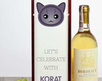 Let's celebrate with Korat cat. A wine box with the cute Art-Dog cat
