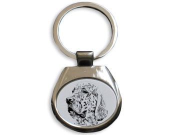 English Setter - NEW collection of keyrings with images of purebred dogs, unique gift, sublimation . Dog keyring for dog lovers