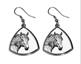 Basque Mountain Horse, collection of earrings with images of purebred horses, unique gift. Collection!