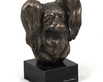 Papillon, dog marble statue, limited edition, ArtDog. Made of cold cast bronze. Perfect gift. Limited edition