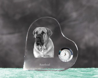 Boerboel- crystal clock in the shape of a heart with the image of a pure-bred dog.
