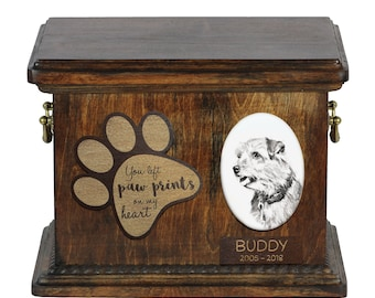 Urn for dog's ashes with ceramic plate and description - Norfolk Terrier, ART-DOG Cremation box, Custom urn.