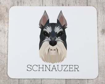 A computer mouse pad with a Schnauzer dog. A new collection with the geometric dog