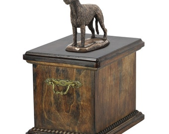 Urn for dog's ashes with a Alano tedesco statue, ART-DOG Cremation box, Custom urn.