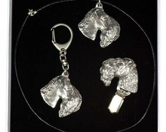 NEW, Kerry Blue Terrier, dog keyring, necklace and clipring in casket, ELEGANCE set, limited edition, ArtDog . Dog keyring for dog lovers