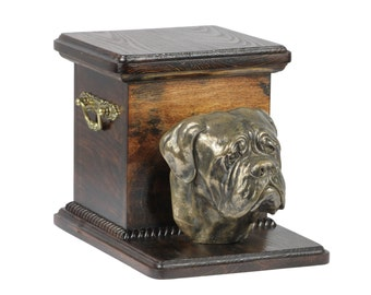 Urn for dog's ashes with a standing statue - French Mastiff, ART-DOG Cremation box, Custom urn.