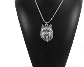 NEW, Cairn Terrier (muzzle), dog necklace, silver cord 925, limited edition, ArtDog
