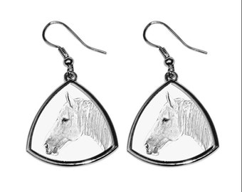 Boulonnais, collection of earrings with images of purebred horses, unique gift. Collection!