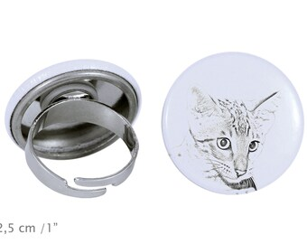 Ring with a cat -Savannah cat