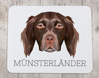 A computer mouse pad with a Münsterländer dog. A new collection with the geometric dog