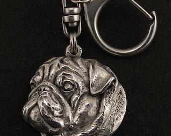 Pug, dog keyring, keychain, limited edition, ArtDog . Dog keyring for dog lovers