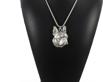 NEW, Boston Terrier,  Boston Bull, American Gentlemen, dog necklace, silver chain 925, limited edition, ArtDog