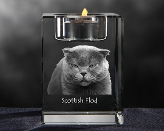 Scottish Fold, crystal candlestick with cat, souvenir, decoration, limited edition, Collection
