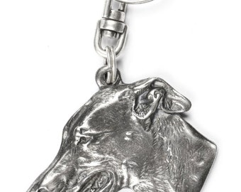 NEW, Grey Hound, English Greyhound, dog keyring, key holder, limited edition, ArtDog . Dog keyring for dog lovers