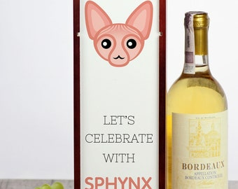 Let's celebrate with Sphynx cat. A wine box with the cute Art-Dog cat