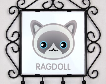 A key rack, hangers with Ragdoll cat. A new collection with the cute Art-dog cat
