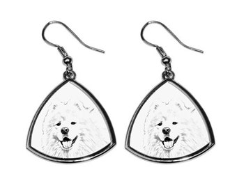 Samoyed - NEW collection of earrings with images of purebred dogs, unique gift