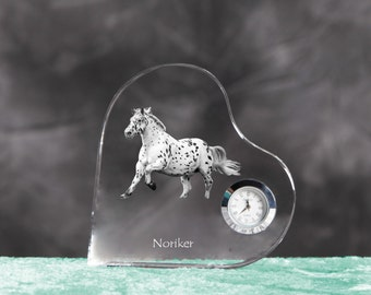 Noriker- crystal clock in the shape of a heart with the image of a pure-bred horse.