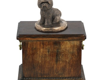 Urn for dog's ashes with a Bichon statue, ART-DOG Cremation box, Custom urn.
