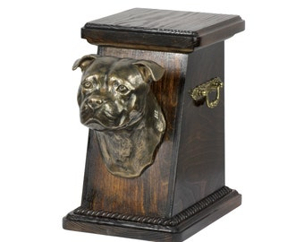 Urn for dog's ashes with a English Staffordshire Bull Terrier statue, ART-DOG Cremation box, Custom urn.
