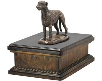 Exclusive Urn for dog's ashes with a Irish Wolfhound statue, ART-DOG. New model Cremation box, Custom urn.
