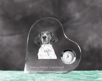Treeing walker coonhound- crystal clock in the shape of a heart with the image of a pure-bred dog.