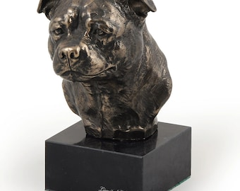 English Staffordshire Terrier, dog marble statue, limited edition, ArtDog. Made of cold cast bronze. Solid, perfect gift. Limited edition.