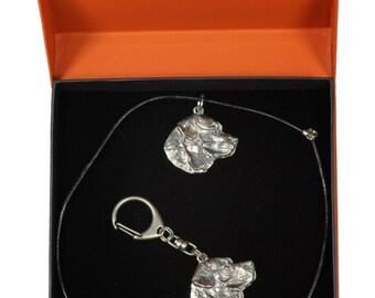 NEW, Labrador Retriever, dog keyring and necklace in casket, PRESTIGE set, limited edition, ArtDog . Dog keyring for dog lovers
