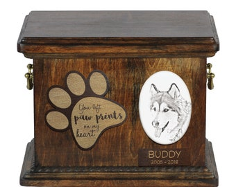 Urn for dog's ashes with ceramic plate and description - Alaskan Malamute, ART-DOG