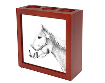 Haflinger -  Wooden stand for candles/pens with the image of a Horse ! NEW COLLECTION!