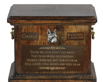 Urn for dog's ashes with relief and sentence with your dog name and date - Boston Terrier, ART-DOG. Cremation box, Custom urn.