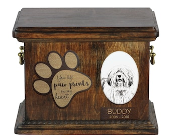 Urn for dog's ashes with ceramic plate and description - Polish Lowland Sheepdog, ART-DOG Cremation box, Custom urn.