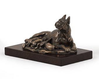 Boxer (mama), dog wooden base statue, limited edition, ArtDog