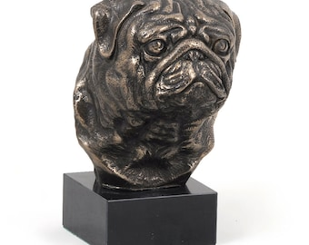 Pug Mops, dog marble statue, limited edition, ArtDog. Made of cold cast bronze. Solid, perfect gift. Limited edition.