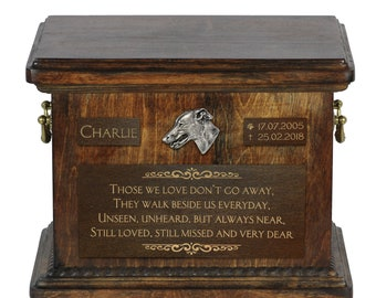 Urn for dog's ashes with relief and sentence with your dog name and date - Greyhound, ART-DOG. Cremation box, Custom urn.