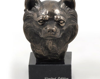 Chihuahua (long haired), dog marble statue, limited edition, ArtDog. Made of cold cast bronze. Solid, perfect gift. Limited edition.