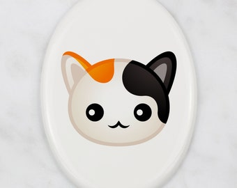 A ceramic tombstone plaque with a Japanese Bobtail cat. Art-Dog cute cat