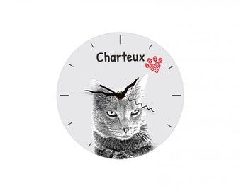 Chartreux, Free standing MDF floor clock with an image of a cat.