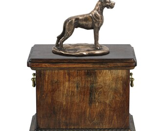 Urn for dog's ashes with a Great Dane cropped statue, ART-DOG Cremation box, Custom urn.