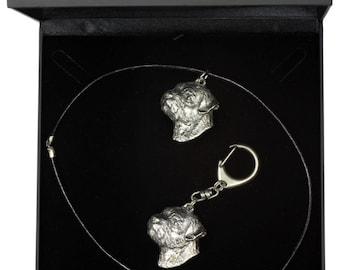 NEW, Border Terrier, dog keyring and necklace in casket, DELUXE set, limited edition, ArtDog . Dog keyring for dog lovers