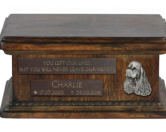 Urn for dog's ashes with relief and sentence with your dog name and date - American Cocker Spaniel, ART-DOG. Low model.