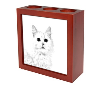 Turkish Van - Wooden stand for candles/pens with the image of a cat ! NEW COLLECTION!