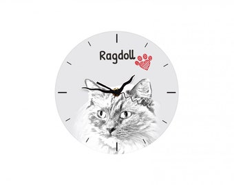 Ragdoll, Free standing MDF floor clock with an image of a cat.